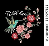 rose embroidery design and... | Shutterstock .eps vector #584097811