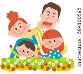 strawberry picking   Shutterstock .eps vector #584100565