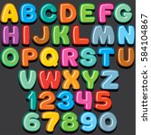 funny colorful comics kid font. ... | Shutterstock .eps vector #584104867