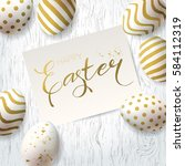 happy easter greetings card. ... | Shutterstock .eps vector #584112319