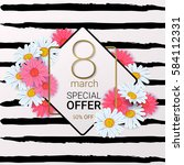 8 march sale background with... | Shutterstock .eps vector #584112331
