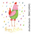 funny cartoon pink and green...   Shutterstock . vector #584114041