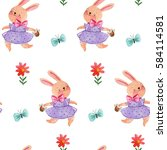 watercolor hand drawing pattern ...   Shutterstock . vector #584114581