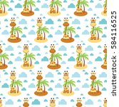 summer seamless pattern with... | Shutterstock .eps vector #584116525