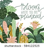 hand drawn wild tropical house... | Shutterstock .eps vector #584122525
