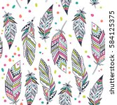 ethnic feathers seamless pattern | Shutterstock .eps vector #584125375