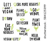 vegan set. vector hand written... | Shutterstock .eps vector #584125399