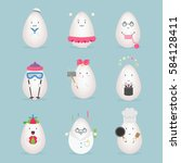 egg character emotion icon... | Shutterstock .eps vector #584128411