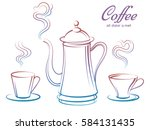 colorful coffee pot and cups... | Shutterstock .eps vector #584131435