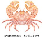 colorful crab isolated on white ... | Shutterstock .eps vector #584131495