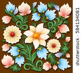 abstract spring floral ornament ... | Shutterstock .eps vector #584134081
