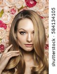 beauty model with spring fresh...   Shutterstock . vector #584134105
