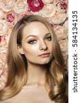 fashion style. blonde curly...   Shutterstock . vector #584134135