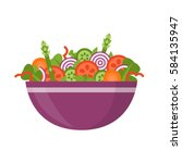bowl of fresh vegetable salad ... | Shutterstock .eps vector #584135947