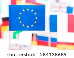 european union flag against... | Shutterstock . vector #584138689