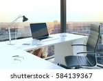 office table with blank laptop... | Shutterstock . vector #584139367