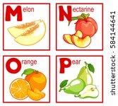 an alphabet with cute fruits ... | Shutterstock .eps vector #584144641