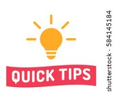 quick tips. ribbon with bulb...   Shutterstock .eps vector #584145184