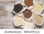 set of various rice in canvas... | Shutterstock . vector #584149111