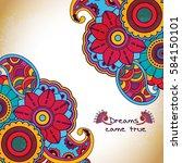 vector floral pattern in doodle ... | Shutterstock .eps vector #584150101