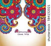 vector floral pattern in doodle ... | Shutterstock .eps vector #584152021