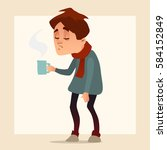 man having a cold  holding a... | Shutterstock .eps vector #584152849