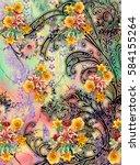 textile colorful print design | Shutterstock . vector #584155264