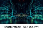 3d illustration. circuit board ... | Shutterstock . vector #584156494