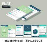 flat ui template with screens...
