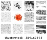 set of scribble textures and... | Shutterstock .eps vector #584163595