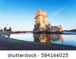 belem tower on the tagus river... | Shutterstock . vector #584166025