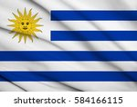 fabric texture flag of uruguay | Shutterstock . vector #584166115