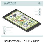 smart grid network  power... | Shutterstock .eps vector #584171845