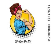 we can do it. pop art sexy... | Shutterstock .eps vector #584175751