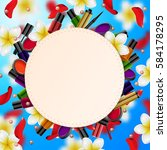decorative cosmetics make up... | Shutterstock .eps vector #584178295