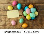 Easter Eggs On Wooden...