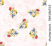 Seamless Floral Pattern White...