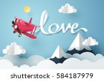 paper art of love calligraphy... | Shutterstock .eps vector #584187979