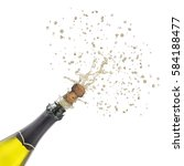 champagne bottle with popping... | Shutterstock . vector #584188477