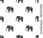 Indian Elephant Icon In Black...