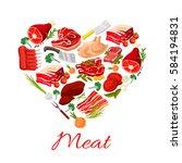 meat heart poster of vector... | Shutterstock .eps vector #584194831