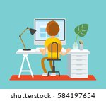 freelancer working at home... | Shutterstock .eps vector #584197654