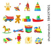 colorful toys set with bunny ... | Shutterstock .eps vector #584197801