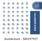 calendar icon set clean vector | Shutterstock .eps vector #584197927