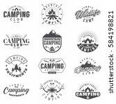 camping set of 12 monochrome... | Shutterstock .eps vector #584198821