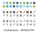black and color outline icons... | Shutterstock .eps vector #584201704