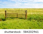 Rusty Iron Gate In Front Of A...