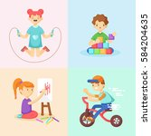playing children set. girl... | Shutterstock .eps vector #584204635