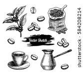vector coffee hand drawn sketch ... | Shutterstock .eps vector #584208214