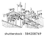 vector sketch of of a cluster... | Shutterstock .eps vector #584208769